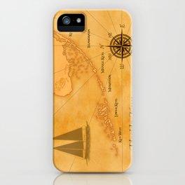 Vintage Nautical Florida Keys Map iPhone Case
