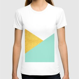 Gold & Aqua Blue Geometry T-shirt
