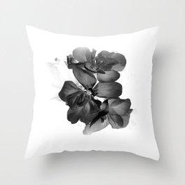 Black Geranium in White Throw Pillow