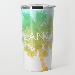 Retro Vintage Ombre Los Angeles, Southern California Palm Tree Colored Print Travel Mug