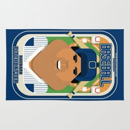 Baseball Blue Pinstripes - Rhubarb Pitchbatter - Seba version Rug
