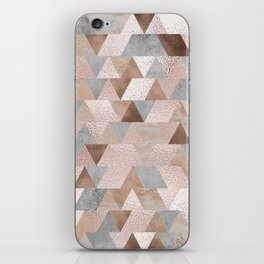 Copper and Blush Rose Gold Marble Triangles iPhone Skin