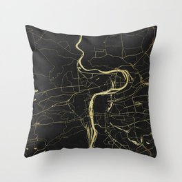 Prague Black and Gold Map Throw Pillow