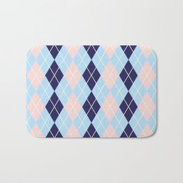 Schoolgirl Blue And Pink Argyle Bath Mat