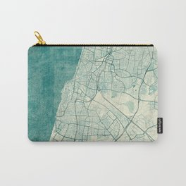 Tel Aviv Map Blue Vintage Carry-All Pouch
