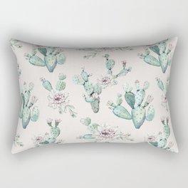 Pretty Cactus Rose Pattern Pale Pink + Green Rectangular Pillow