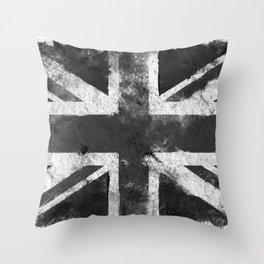 Black and white England Grunge flag Throw Pillow
