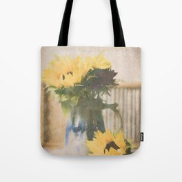 First Sunflowers of Autumn Tote Bag