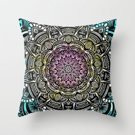 DETAILED CHARCOAL MANDALA (BLACK AND WHITE) WITH COLOR (PINK YELLOW TEAL) Throw Pillow