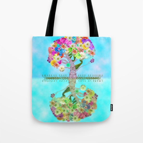 Cute Whimsical Bright Floral Tree Collage Teal Sky Tote Bag