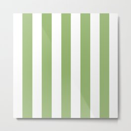 Olivine green - solid color - white vertical lines pattern Metal Print
