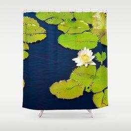 Dark Blue Pond by Teresa Thompson Shower Curtain