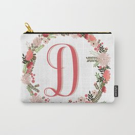 Personal monogram letter 'D' flower wreath Carry-All Pouch