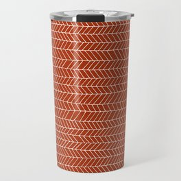 simle line pattern white on red Travel Mug