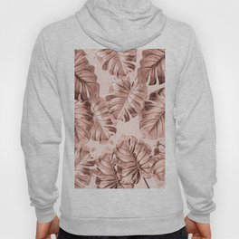 Rose Gold Monstera Leaves on Blush Pink 2 Hoody