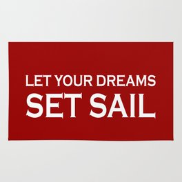 Let Your Dreams Set Sail - Red and White Rug
