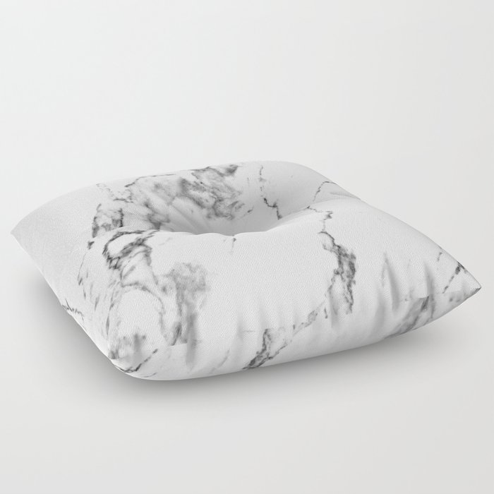 White Marble I Floor Pillow