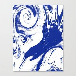 Marble blue 1 Suminagashi watercolor pattern art pisces water wave ocean minimal design Canvas Print