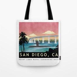 San Diego, CA - Retro Submarine Travel Poster Tote Bag