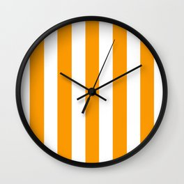 Orange (RYB) - solid color - white vertical lines pattern Wall Clock