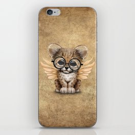 Cheetah Cub with Fairy Wings Wearing Glasses iPhone Skin