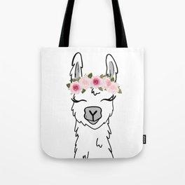 Floral Crown Llama Tote Bag
