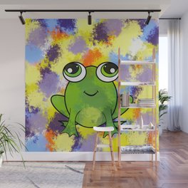 Cute frog and fresh paint Wall Mural