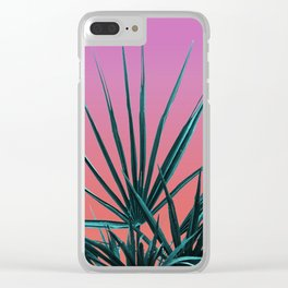 Pink Palm Life - Miami Vaporwave Clear iPhone Case