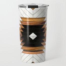 Urban Tribal Pattern 5 - Aztec - Concrete and Wood Travel Mug