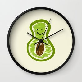 Smiling Avocado Food Wall Clock