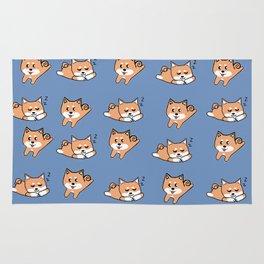 Cool Blue Shiba Pattern Rug