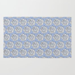 Background abstract white doodle-flowers, pattern, vector, texture design. Rug