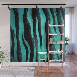 Cyan Zebra Wall Mural