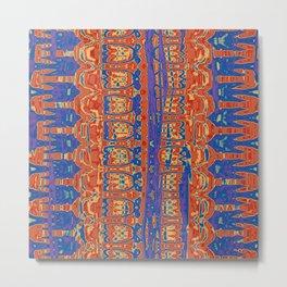 Wrinkly Batik Blue Red Mix 1 Metal Print