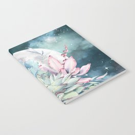 Beautiful Succulents Full Moon Teal Pink Notebook