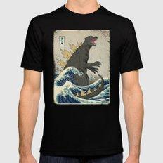 The Great Godzilla off Kanagawa MEDIUM Black Mens Fitted Tee