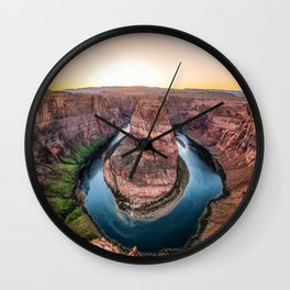 The Bend - Horseshoe Bend During Southwestern Sunset Wall Clock