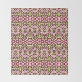 Delicate Floral Stripes Throw Blanket