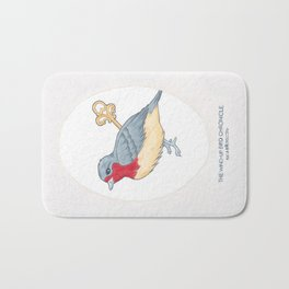 Haruki Murakami's The Wind-Up Bird Chronicle // Illustration of a Bird with a Wind-up Key in Pencil Bath Mat