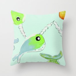 Here Comes the Narwahl!! Throw Pillow
