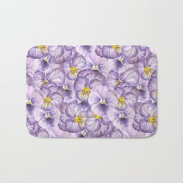 Watercolor floral pattern with violet pansies Bath Mat