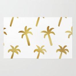 golden foil palm trees pattern Rug