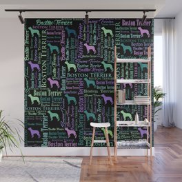 Boston Terrier Dog Word Art pattern Wall Mural