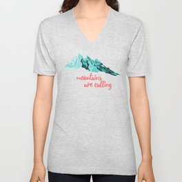 Mountains Are Calling Typography Design Unisex V-Neck