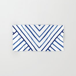 Watercolor lines pattern | Navy blue Hand & Bath Towel