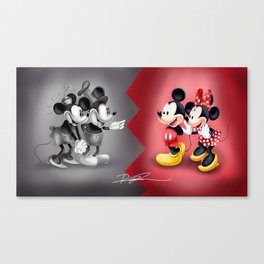 Old School New School Mickey and Minnie  Canvas Print