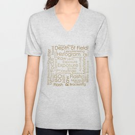 Photography Terms Word Cloud Pattern Gold on Black Unisex V-Neck