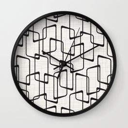 Black Retro Rounded Rectangles Geometric Pattern Wall Clock