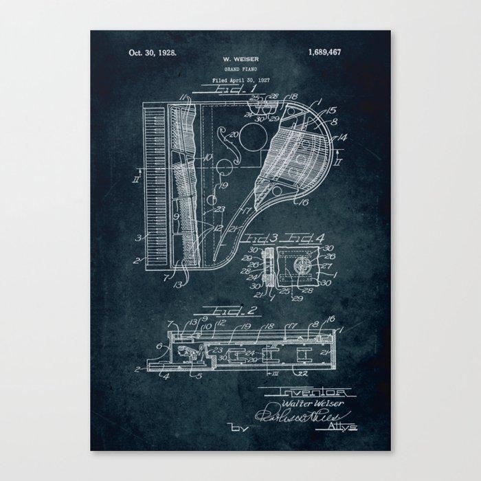 Grand Piano patent Canvas Print