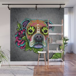 Boxer in White Fawn - Day of the Dead Sugar Skull Dog Wall Mural